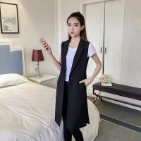 2018秋季新款2018春秋季新款韩版黑色中长款西装马甲外套女修身无袖背心风衣潮