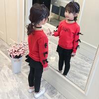 中大童洋气运动服小女孩运动卫衣两件套女童套装春装