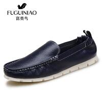 富贵鸟 男鞋时尚休闲鞋套脚豆豆鞋男士皮鞋男软面鞋子 S644 蓝色 43