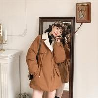 高领加绒2019冬季新款女韩版学生流行百搭复古宽松外套棉衣厚