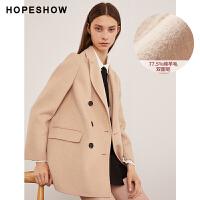 活动到手价322丨红袖女装双面呢宽松纯色羊毛外套双排扣毛呢大衣女