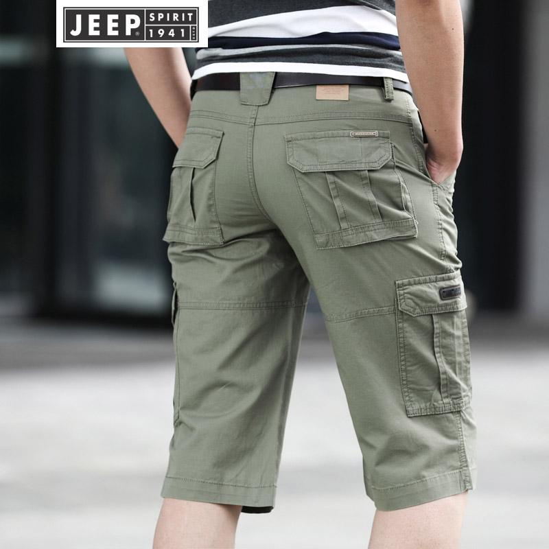 JEEP吉普短裤男多口袋沙滩裤夏季男士休闲工装七分裤男装大码宽松中裤