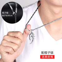 狼牙男士项链吊坠韩版潮人钛钢学生挂坠个性装饰品潮挂饰简约百搭
