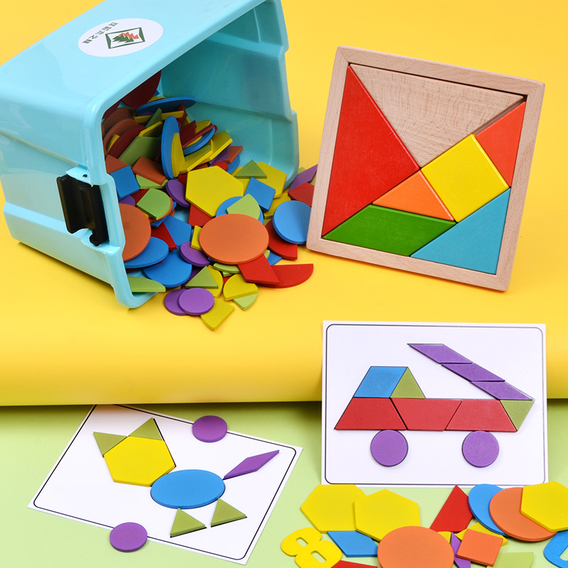 幼儿儿童益智力七巧板拼图磁性2-3-4岁女孩早教宝宝玩具男孩积木6 送收纳箱/立体数字/20张双面图卡