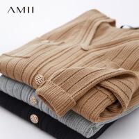 AMII复古小香V领针织衫2021年春装新款外搭黑色上衣女士开衫毛衣