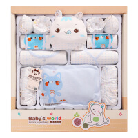 班杰威尔新款  16件套婴儿衣服新生儿礼盒 套装夏季纯棉0-3个月6初生满月宝宝用品 四季毛线猫