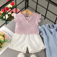 童装女童夏季时尚休闲套装2018新款韩版女宝宝洋气上衣短裤两件套