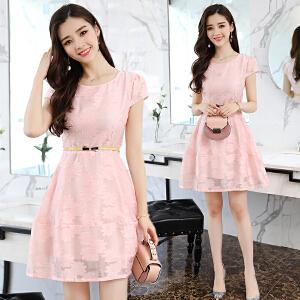 RANJU 然聚2018女装夏季新品新款中长款复古修身显瘦短袖小清新裙子