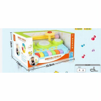 儿童玩具 趣味电子琴玩具架子鼓二合一音乐启蒙宝宝儿童早教益智礼盒装生日礼物 湖蓝色