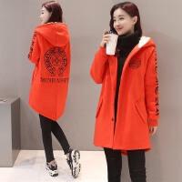 秋冬新款韩版女装中长款单排扣绣花长袖学生毛呢大衣女外套潮