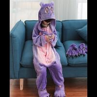 秋冬季儿童卡通连体睡衣动物恐龙宝宝女大童法兰绒男童老虎 紫猫 100号95-105
