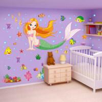 人鱼公主超大卡通儿童房贴画女孩床头贴纸 美人鱼墙贴可移除防水