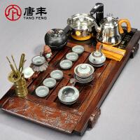 唐丰黑檀实木茶盘整套功夫仿汝窑茶具陶瓷套装四合一电热炉