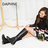 Daphne/达芙妮 冬季拼接侧拉链装饰韩版时尚潮低跟长高筒靴