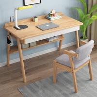 实木白色书桌北欧简约田园现代家用学生书房写字台式电脑桌办公桌