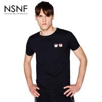 NSNF纯棉撞色眼镜印花黑色圆领男款T恤 男装2017短袖新款 修身圆领针织短袖
