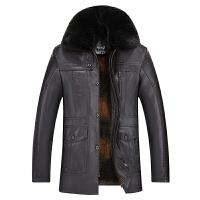 冬款中老年皮衣男加绒加厚爸爸装中长款男士毛领老人PU皮夹克外套