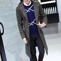 冬季韩版修身帅气呢子风衣男大衣过膝长款男士毛呢外套妮子中长款 607咖啡色 5