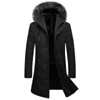 羽绒服男冬季韩版潮流加厚保暖连帽长款男大衣过膝修身狐狸毛外套