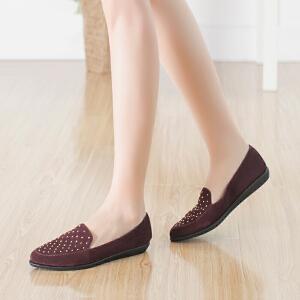 Daphne/达芙妮正品女鞋秋季时尚铆钉深口坡跟圆头单鞋休闲低跟鞋