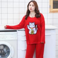 睡衣2018春季新品加大码女士纯棉可爱动物家居服 红色