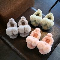 秋冬季居家居保暖卡通防滑儿童棉鞋包跟中童小童男女童宝宝棉拖鞋