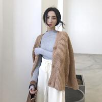 复古港味chic韩风春季新款宽松显瘦单排扣阔型纯色毛衣外套针织衫