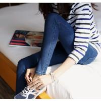 深蓝色牛仔裤女高弹小脚牛仔裤女简约职业长裤修身显瘦韩版长裤