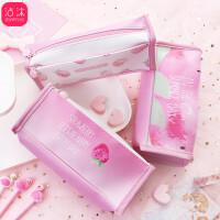 韩国创意笔袋小清新少女粉草莓大容量学生笔袋方形文具收纳盒
