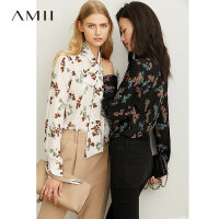 Amii极简法式优雅气质衬衫2019秋季新款宽松飘带复古印花绑带上衣