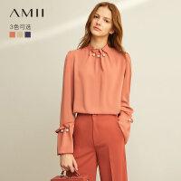 【到手价:122元】Amii极简法式名媛风立领珍珠雪纺2019秋新款木耳边长袖绑带衬衫