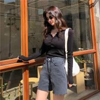 chuu牛仔短裤女黑色复古风夏季薄款2019秋季新款高腰宽松女式裤子