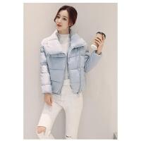 女棉衣学生棉袄新款面包服韩版学院风处理冬装短款外套潮 浅蓝色 (翻领面包服)