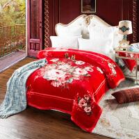 家纺毛毯被子云毯双层绒毯加厚保暖 婚庆毯子冬季睡毯结婚盖毯 200x230cm 8斤超柔