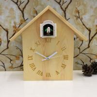 实木布谷鸟挂钟简约客厅座钟儿童智能创意报时台钟卧室咕咕钟 18英寸