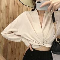套装女韩版新款v领系带蝴蝶结长袖衬衫+高腰后开叉针织裙半身裙 均码