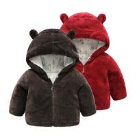 女婴儿衣服冬装外套男宝宝加厚冬季0岁1珊瑚绒棉衣