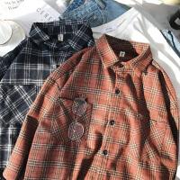 春季韩版衬衣男宽松休闲青少年格子小清新磨毛长袖衬衫