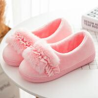 棉鞋厚底冬季室内防滑居家居保暖毛毛棉拖鞋可爱包跟月子鞋CLJ