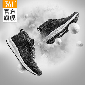 【每满100减50】361男鞋中帮运动鞋跑鞋361度高帮软底针织男子跑步鞋