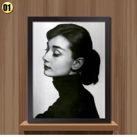 奥黛丽赫本海报画装饰画黑白电影有框画经典挂画客厅壁画墙画