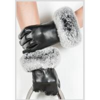 时尚女士真皮手套冬季加绒加厚韩版可爱獭兔毛羊皮可触摸屏手套 可礼品卡支付