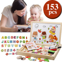 大手牵小手木制拼图三只松鼠拼拼乐双面磁性画板儿童益智拼图玩具g2a