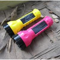 太阳能充电手电筒 手电大容量塑料充电电筒户外照明灯