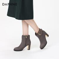 Daphne/达芙妮2017冬新款短靴 个性复古时尚圆头低筒潮流时装靴女