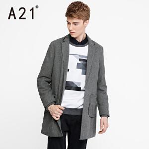 以纯A21新款2017男装中灰毛呢外套修身商务毛呢大衣男中长款青年潮