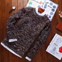 秋冬新款加厚彩色菱形提花毛衣渐变色针织衫男装羊毛衫