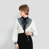 【2件3折 折后价:131】LILY女装复古宫廷气质撞色蕾丝花边绑带领长袖衬衫