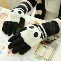 手套女冬季可爱韩版学生加厚保暖卡通针织毛线骑车五指棉手套