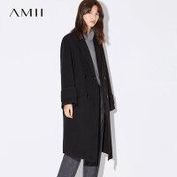【双12全场5折封顶】Amii[极简主义]100%羊毛双面呢毛呢外套女冬装2017新款宽松中长衣